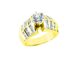 2.25ct Round Princess Cut Diamond Engagement Ring Solid 14k Gold I Si2