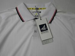 Sperry Top Sider Sts35 White Short Sleeve Polo Shirt W Red Blue Stripe Collar Xl