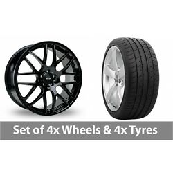 4 X 20 Riva Dtm Black Alloy Wheel Rims And Tyres - 265/30/20