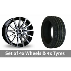 4 X 18 Bola Xtr Black Polished Alloy Wheel Rims And Tyres - 235/50/18