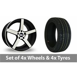 4 X 18 Bola B2 Black Polished Alloy Wheel Rims And Tyres - 235/50/18