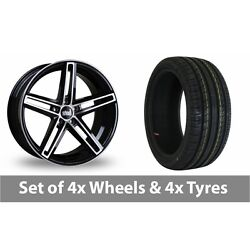 4 X 19 Bola B3 Black Polished Alloy Wheel Rims And Tyres - 255/35/19