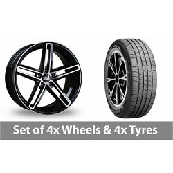4 X 19 Bola B3 Black Polished Alloy Wheel Rims And Tyres - 235/45/19