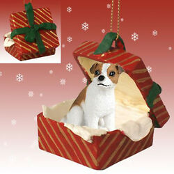 Jack Russell Terrier Smooth Dog RED Gift Box Holiday Christmas ORNAMENT