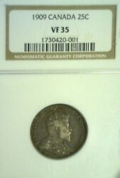 1909 Canada Silver Twenty Five Cents Ngc Vf35. Reduced 8/12/21 1513nam