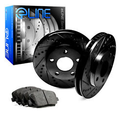 For 2008 Volvo S80 Rear eLine Black Drill Slot Brake Rotors+Semi-Met Brake Pads