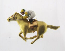 Extremely Rare E. Wolfe And Co Jockey Riding Horse Pin In Sold 18kt Gold Enameled