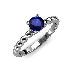 Blue Sapphire And Diamond Engagement Ring 1.01 Ct Tw In 14k White Gold Jp110898