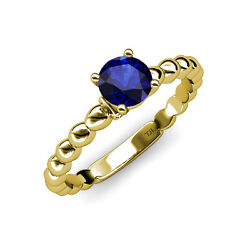 Blue Sapphire And Diamond Engagement Ring 1.01 Ct Tw In 14k Yellow Gold Jp110899