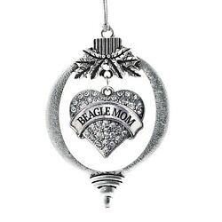 Inspired Silver Beagle Mom Pave Heart Holiday Christmas Tree Ornament