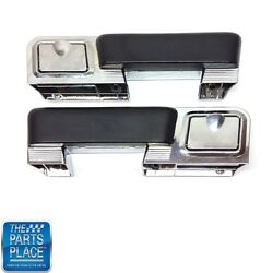 1962-67 A Body Chrome Rear Arm Rest Bases With Ash Tray And Black Pads - Pair