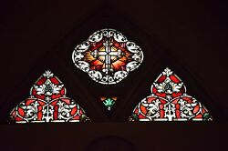 + Fine Older German Stained Glass Church Window, Cross + All 3 Panels +chalice