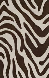 Brown Transitional Hand Hooked Zebra Curves Swirls Area Rug Animal Print Tr15
