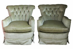Pair Crushed Velvet Club Chairs In A Lovely Spring Green Color