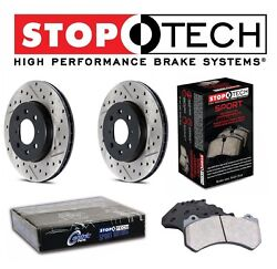 For StopTech Set of Front Drilled & Slotted Brake Rotors Sport Pads for 350Z G35
