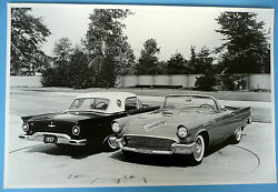 12 By 18 Black And White Picture Two 1957 Thunderbirds Hard Top And Soft Top