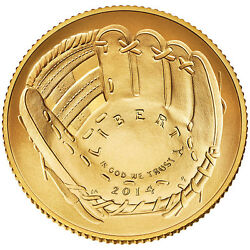 2014 NATIONAL BASEBALL UNCIRCULATED HALL OF FAME $5 GOLD DOLLAR WBOX IN HAND
