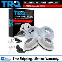 Trq Rotor And Brake Pad Posi Metallic Performance Drilled Slotted Front Rear Kit