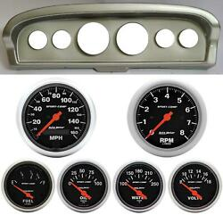 61-66 Ford Truck Silver Dash Carrier W/ Auto Meter Sport Comp Electric Gauges