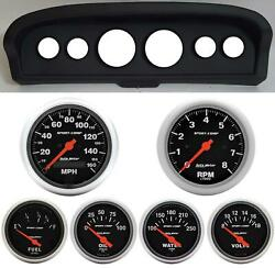 61-66 Ford Truck Black Dash Carrier W/ Auto Meter Sport Comp Electric Gauges