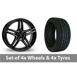 4 X 20 Wolfrace M10 Black Alloy Wheel Rims And Tyres - 275/40/20