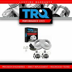 Trq Front Performance Drilled Slotted Brake Rotor Ceramic Pad And Wheel Bearings