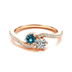 1.24 Cts White And Blue Vs2-si1 2 Stone Diamond Solitaire Ring 14k Rose Gold
