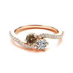 1.24 Cts White And Brown Vs2-si1 2 Stone Diamond Solitaire Ring 14k Rose Gold