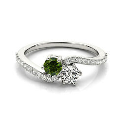1.24 Cts White And Green Vs2-si1 2 Stone Diamond Solitaire Ring 14k White Gold