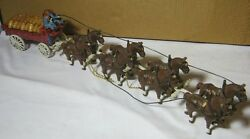 Cast Iron Reproduction Toy Horse Drawn Beer Wagon W/ Driver And Dog T
