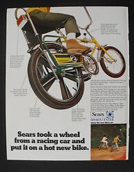 1969 Sears Screamer 2 Bicycle Drag Racer 5 Speed Green And Yellow Boys Bike Ad