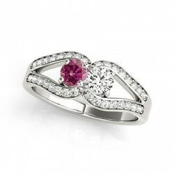 1.25 Carat Pink And White Vs2-si1 2 Diamond Solitaire Engagement Ring 14k Wg