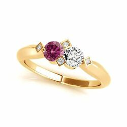 1.012 Cts Pink And White Vs-si1 2 Stone Diamond Solitaire Engagement Ring 14k Yg