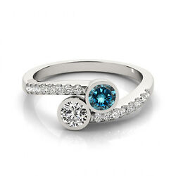 1.16 Cts Blue And White Vs-si1 2 Stone Diamond Solitaire Engagement Ring 14k Wg