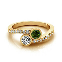 1.16 Cts Greenand White Vs-si1 2 Stone Diamond Solitaire Engagement Ring 14k Yg