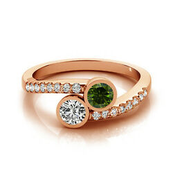 1.16 Cts Greenand White Vs-si1 2 Stone Diamond Solitaire Engagement Ring 14k Rg