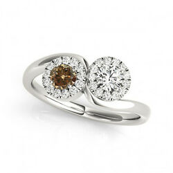 1.24 Cts Brown And White Vs-si1 2 Stone Diamond Solitaire Engagement Ring 14k Wg