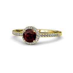 Red Garnet And Diamond Halo Engagement Ring 1.50 Ct Tw 14k Yellow Gold Jp115152
