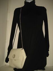 NEW Versace Collection White Leather Chains Crossbody Messenger Handbag Clutch