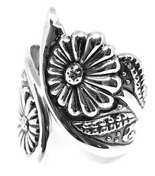 Taxco Mexican Sterling Silver Sunflower Flower Floral Clamper Bracelet Mexico