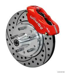 Wilwood 65-70 Ford Front Disc Brake Kit 11 Drilled Rotor Red Caliper