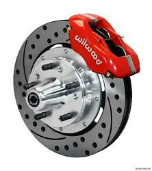 Wilwood 65-68 Impala Front Disc Brake Kit 12.19 Drilled Rotor Red Caliper