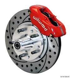 Wilwood 59-64 Impala Front Disc Brake Kit 11 Drilled Rotor Red Caliper