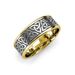 High Polish 8.00 Mm Two Tone Celtic Trinity Knot Wedding Band In 14k White Gold.