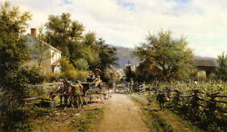 Oil Painting Edward Lamson Henry - A Summer Day Carriages Villagers Hand Painted
