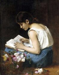 Oil Alexei Alexeivich Harlamoff - The Flower Girl Also Known As Girl Reading