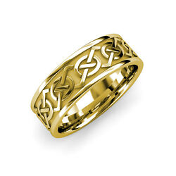 High Polish 7.00 Mm Celtic Knot Wedding Band In 14k Yellow Gold Mbhm3247hp14y