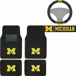 New 5pc Ncaa Michigan Wolverines Car Truck Floor Mats And Steering Wheel Cover
