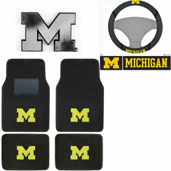 New Ncaa Michigan Wolverines Car Truck Floor Mats Steering Wheel Cover And Emblem