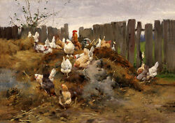 Excellent Oil Painting Animals Fowl Domestic Bird Domestic Fowl Poultry Cock Hen
